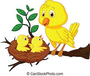mãe bebê, pássaro, caricatura