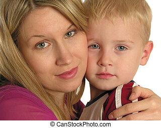 mãe, closeup, criança