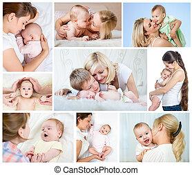 mãe, colagem, concept., mamães, babies., dia, amando