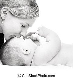 mãe, com, bebê