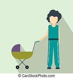 mãe, com, bebê, em, carrinho criança, apartamento, ícone