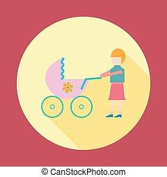 mãe, com, bebê, em, carrinho criança