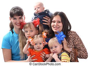mãe, com, children.