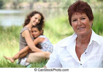 mãe, com, dela, crianças