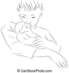 mãe, com, um, dormir, bebê
