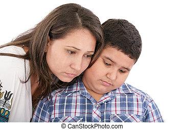 mãe, confortando, dela, filho