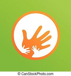 mãe, crianças, junto, mãos