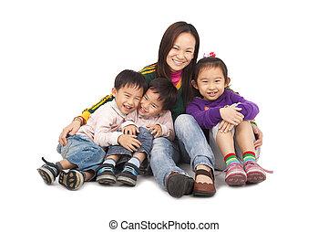 mãe, crianças, três, asiático