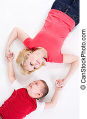 mãe, e, a, filho, mentira, ligado, um, chão, tendo, unido, hands.