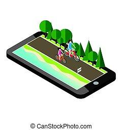 mãe, e, doughter, ligado, bicycles, estrada, perto, a, praia, e, forest., móvel, geo, localizando