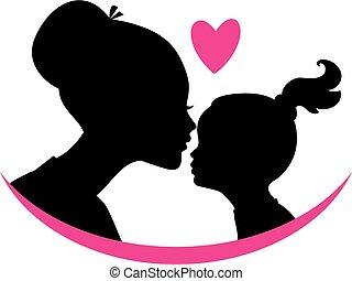 mãe, e, filha, amor