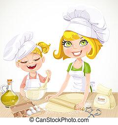 mãe, e, filha, biscoitos assando