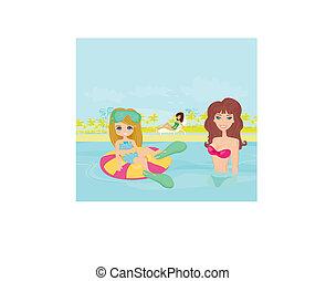 mãe, e, filha, em, piscina
