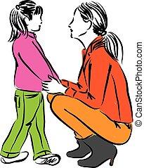 mãe, e, filha, ilustração