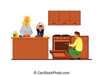 mãe, família, pai, junto, kitchen., filho, feliz, biscoitos, assando