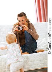 mãe, fazer, bebê, modernos, fotografias