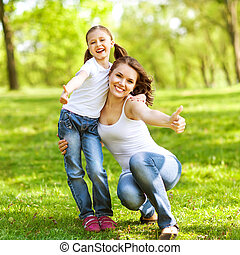mãe filha, apreciar, a, cedo, spring., mãe, day.