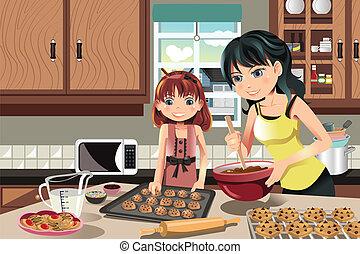 mãe, filha, biscoitos assando