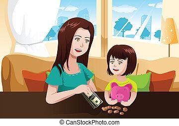 mãe filha, dinheiro saving, para, um, cofre