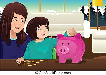 mãe, filha, dinheiro saving, para, um, piggybank