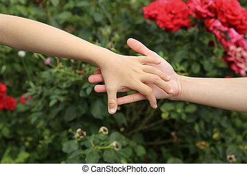 mãe, filha, junto, mãos