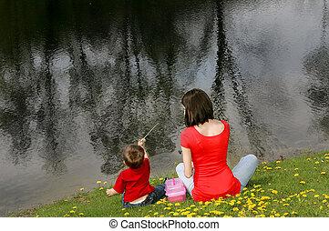 mãe filho, pesca