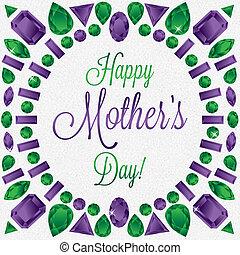 mãe, format., vetorial, pedra preciosa, dia, cartão