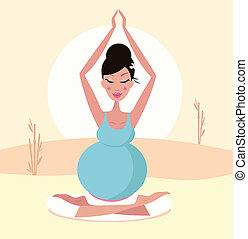 mãe grávida, ioga, bonito