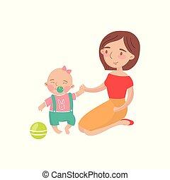 mãe, jogando esfera, com, dela, pequeno, filho bebê, caricatura, vetorial, ilustração
