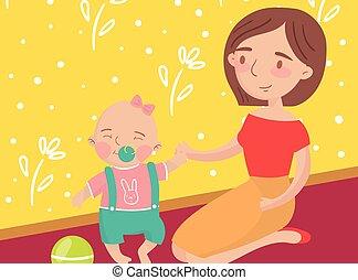 mãe, jogando esfera, com, dela, pequeno, filho bebê, foto, melhor, momentos, ligado, quadros, retrato, de, membros familiares, vetorial, ilustração