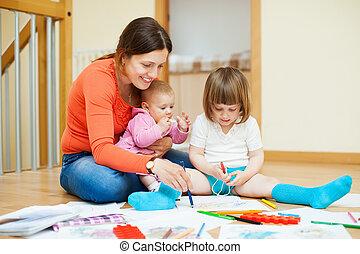 mãe, jogos, feliz, crianças, lar