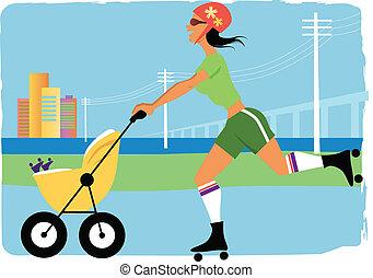 mãe jovem, ligado, a, patins rolo