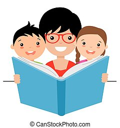 mãe, lendo uma história, para, dela, crianças