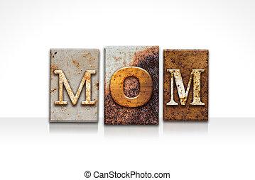 mãe, letterpress, conceito, isolado, branco