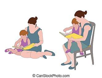 mãe, livro leitura, criança