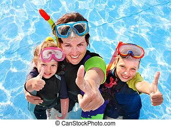 mãe, natação, pool., crianças