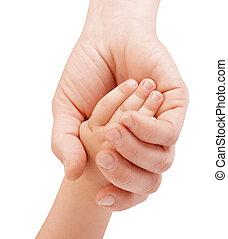 mãe, prendendo mão criança