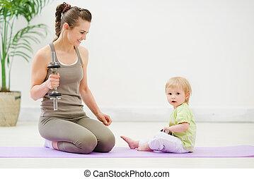 mãe, saudável, tempo, gastando, condicão física, bebê