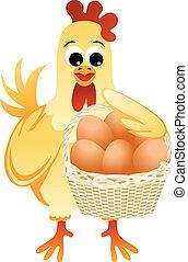 mãe, segurando, galinha, cesta, ovos