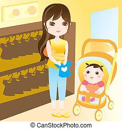 mãe, shopping, com, bebê