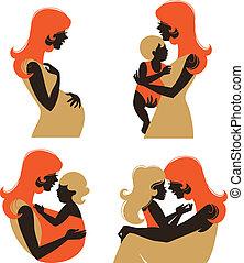 mãe, silueta, com, baby., jogo, de, silueta, mulher grávida,...