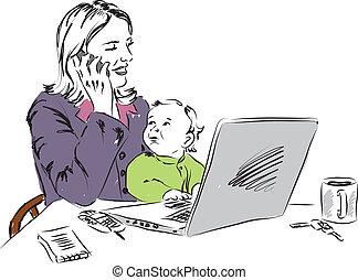 mãe, trabalhando casa, com, bebê, illus