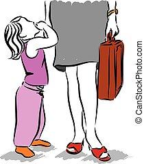 mãe, trabalhando, ilustração