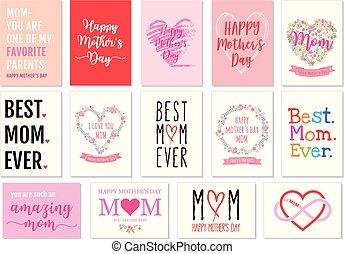 mãe, vetorial, jogo, cartões, dia