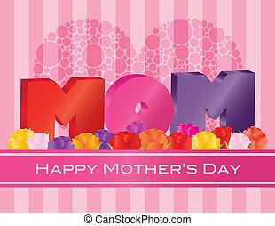 mães, alfabeto, saudação, ilustração, rosas, mãe, dia, cartão