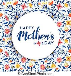 mães, cartaz, desenho, fundo, floral, dia, feliz