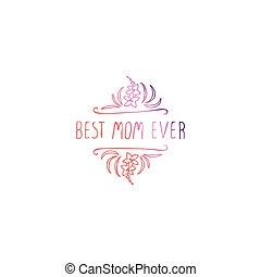 mães, elemento, fundo, handlettering, branca, dia, feliz