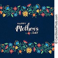 mães, padrão, retro, fundo, floral, dia, feliz