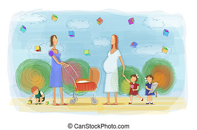 mães, tocando, crianças