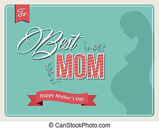mães, vindima, saudação, cores, dia, cartão, feliz